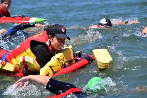 Megan in water practise swim